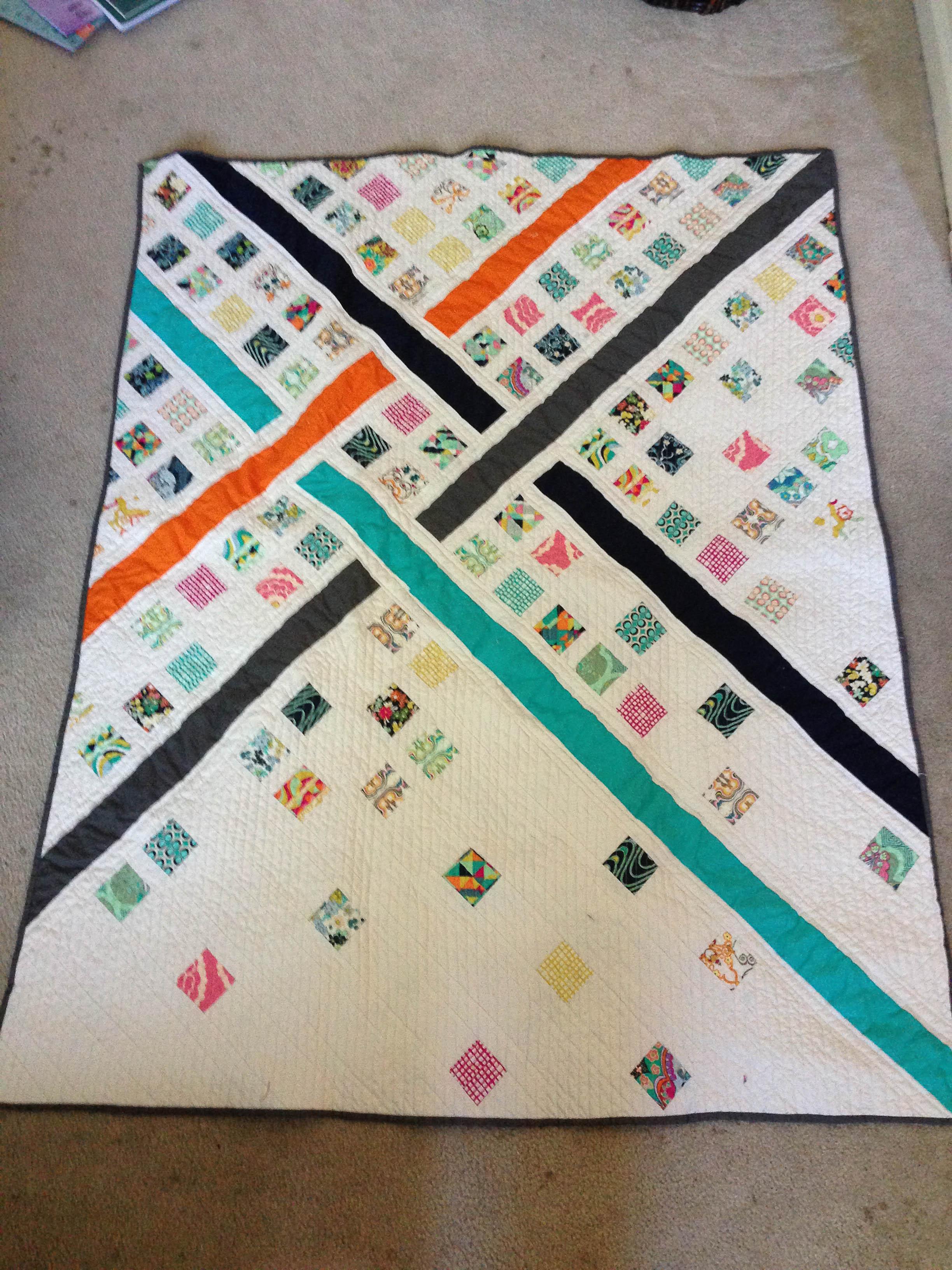 Diagonal modern quilt krisrunner for Modern house quilts